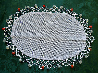 Vintage Opaque & Orange  Beaded Jug Cover Glass Beads White Crocheted