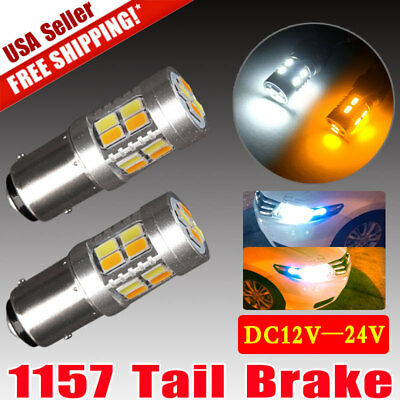 2x White 1157 BAY15D 80-SMD LED Light Bulbs Tail Brake Stop Backup Reverse 1152