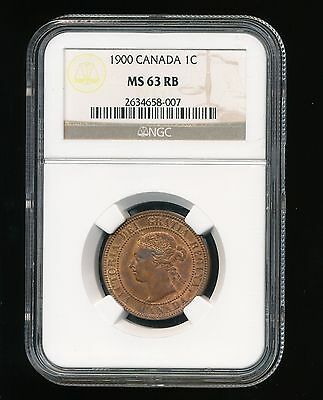 1900 Canada Victoria Large Cent 1C NGC MS 63 Red Brown (RB)