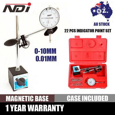 0 - 10mm Dial Indicator Gauge + Magnetic Base Holder + 0.01mm Resolution