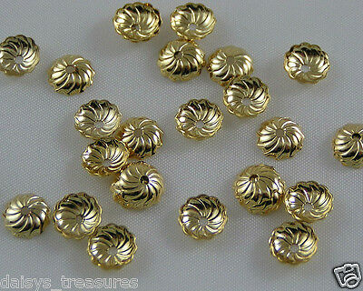 Bead end caps fluted GP 7mm gold plated pack 50 jewellery making findings new