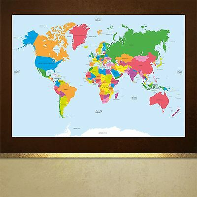 Map of the World poster print wall art