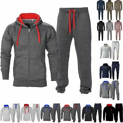 Mens Red & Blue Contrast Fleece Bottom Top Warm Cord Squad Zip Tracksuit S-XL