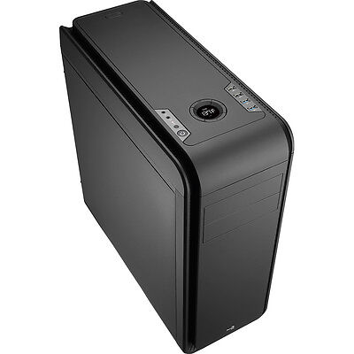 Aerocool DS 200 Black Gaming PC Case Noise Dampening 2 x USB3 7 Colour LCD Panel