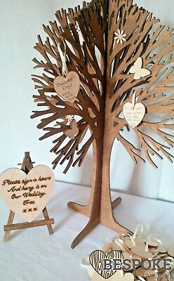 Personalised Guest Book Wishing Wedding Tree Birthday Wishes Love 30 Wood Hearts