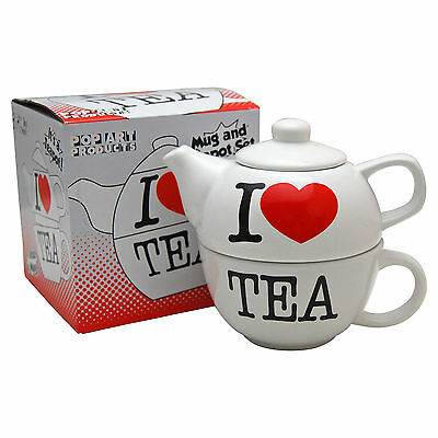 I Love Tea Teapot For One. Novelty Tea Pot Cup Set Home Office Kitchen Cool Gift