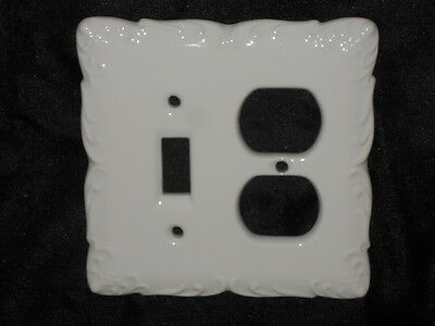 "Ceramic Combo Switch Plate & Plug Cover Plate 5"" X 5"" Lt. Beige Nice Lot Bbb"