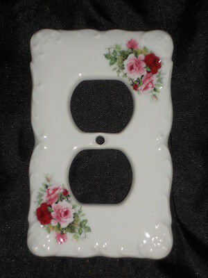 "Ceramic Plug Cover Plate 3 1/4"" X 5"" With Roses Nice Lot Nnn"