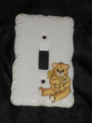 "Ceramic Switch Plate 3 1/4"" X 5"" With Teddy Bear Nice Lot 4"