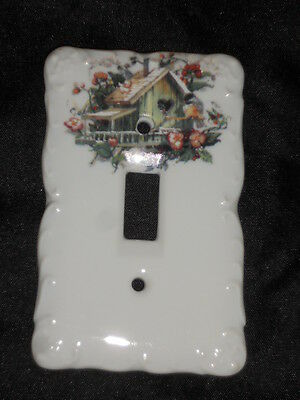 "Ceramic Switch Plate 3 1/4"" X 5"" With Birdhouse Nice Lot 7"
