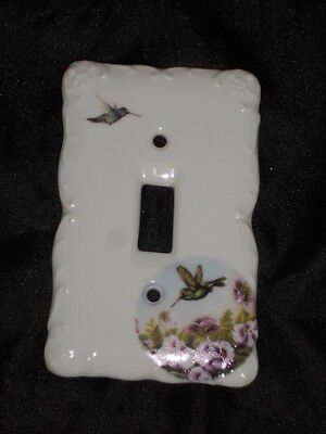 "Ceramic Switch Plate 3 1/4"" X 5"" With Hummingbird & Flowers Nice Lot 16"