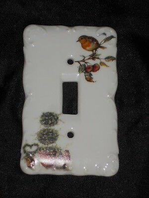 "Ceramic Switch Plate 3 1/4"" X 5"" With Bird & Plants Nice Lot 20"