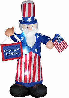 6 ft Tall Airblown Uncle Sam Yard Decoration - Inflatable July 4th Lawn Decor
