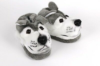 Gray Wolf Slippers  - Animal Slippers - Adult and Kids Sizes In Stock