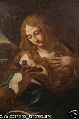 European 19th Century Religious Painting of Woman with Crucifix Bible and Skull