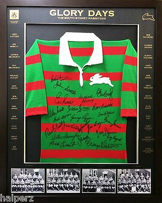 Blazed In Glory - South Sydney Rabbitohs Glory Days - Signed and Framed Jersey