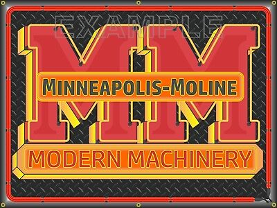 Minneapolis-Moline Tractor Neon Style Printed Banner Sign Garage Art 4' X 3'