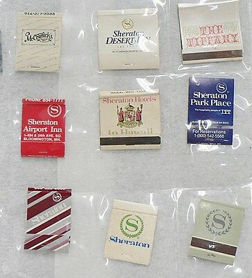 Lot Of 9  Different Match Book Covers Sheraton Hotel