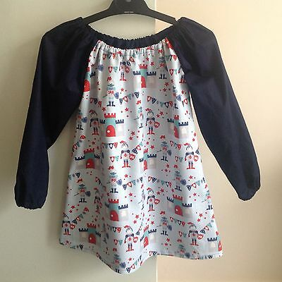 Handmade Cotton Art Smock ~ Size 5-7 ~ Knights Print - Navy