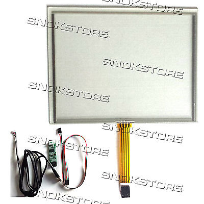 """8"""" inch 4 WIRE RESISTIVE TOUCH PANEL + USB PORT CONTROLLER BOARD KIT DIGITIZER"""