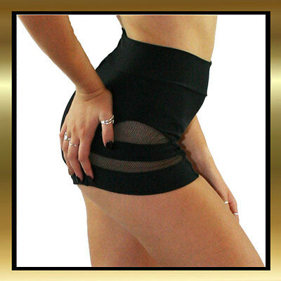 Juicee Peach High Waist Black Lycra & Mesh Cut Out Pole Dance/Dance Shorts