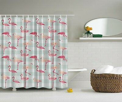 Tropical Pink Flamingo Digital Print Shower Curtain Birds Lovers Stripes Decor