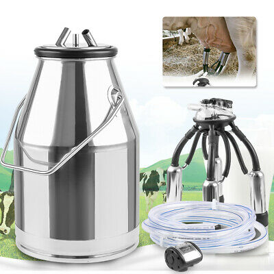 NEW Portable Cow Milker Milking Machine Bucket Tank Barrel 304 Stainless Steel