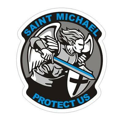 Thin Blue Line Saint Michael Police Officer Decal / Sticker #199 Made in USA