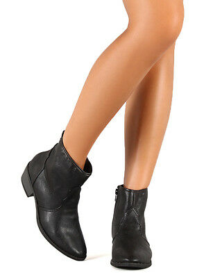 619a45749ed Qupid Sochi-01 New Women Leatherette Western Pointy Toe Low Heel Ankle  Bootie