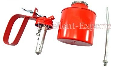 1/2 Pint Metal High Pressure Oil Can With Squirt spout Nozzle Pump P2471