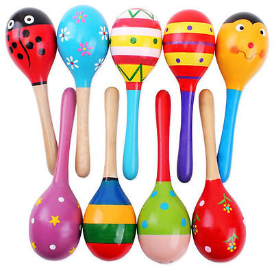 HA 2pcs Colorful Wooden Maracas Baby Musical Instrument Rattle Shaker Party Toy
