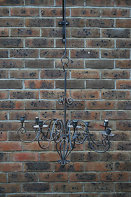 Vintage Wrought Iron Candle Chandelier