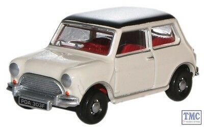 76MN002 Oxford Diecast Old English White/Black Austin Mini 1/76 Scale OO Gauge
