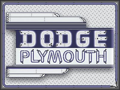 Dodge Plymouth Dealer Marquee Neon Style Printed Banner Sign Remake Art 4' X 3'