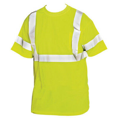 PIP 313-CNTSELY/L ANSI/ISEA Class 3 Lime Yellow Crew Neck T-Shirt, Size Large
