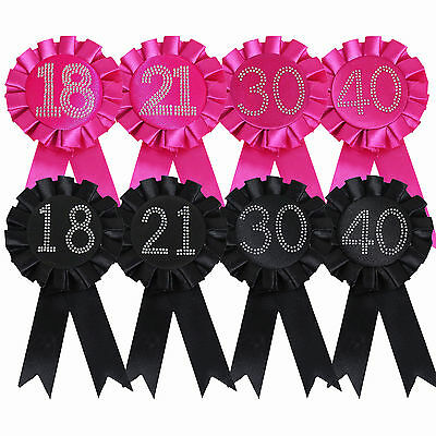 18th 21st 30th or 40th Birthday Diamante Number Rosette Badge Pink OR Black