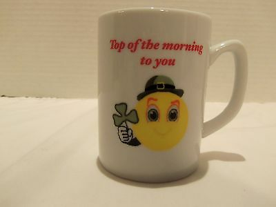Irish Smiley Face Clover Mug Top Of The Morning To You-St.patrciks Day-2 Sided