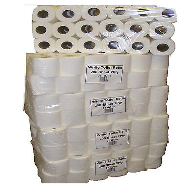 216 Rolls Toilet Paper-200 Sheets Per Roll (6 Cases Of 36) White 2 Ply Jumbo