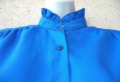 Vintage Victorian Style BLOUSE Ruffled High Collar Button Down Royal Blue Large