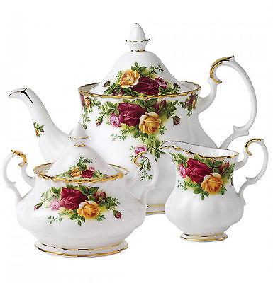 Royal Albert Old Country Roses 3-Piece Teapot Cup Creamer Tea Set England - NEW