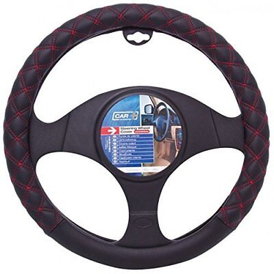 Empire Car Steering Wheel Cover Glove Real Leather Black Red Stitching 37-38cm