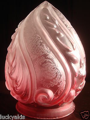 Antique Victorian Frosted Cranberry Glass Embossed Etched Flame Light Lamp Shade