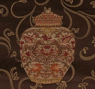 3.8 yds Richly Embroidered Ginger Jar Chinoiserie Designer Decorating Fabric
