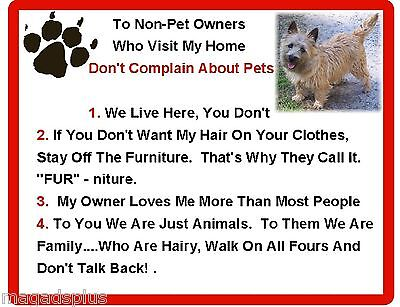 Funny Dog Cairn Terrier House Rules Refrigerator / Magnet Gift Card Insert