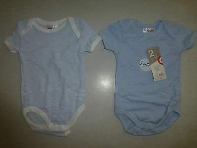 Bnwt - Baby Boys Size 000 0-3Months 2 Pack Blue Bodysuit - New