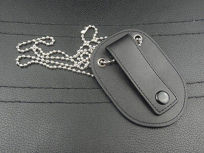 Black Leather Badge Holder Case With Neck Chain