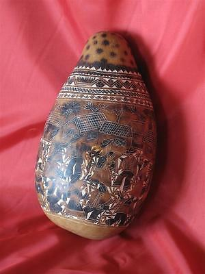 Old South American Carved Story Gourd… the story of village life...
