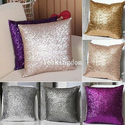 "Solid Glitter Sequins Throw Pillow Case Lounge Cafe Decor Cushion Cover 16""x16"""