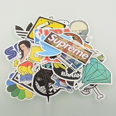 100 Pieces Stickers Skateboard Vintage Graffiti Laptop Luggage Decals mix