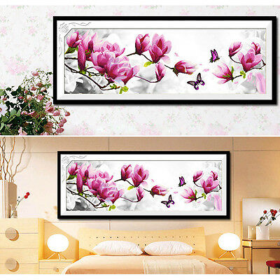 DIY Pink Magnolia Counted Cross Stitch Embroidery Kit Handcraft 3D Flower